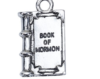 5 BOOK Of MORMON Charms, LDS Charms, Antique Silver Metal Charm Pendants, 27x16mm, chs2723