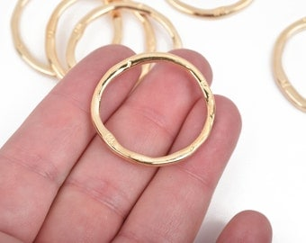 5 Light Gold Hammered Rings, Circle Washer Connector Links, Hammered Metal Charms, 32mm, chg0608