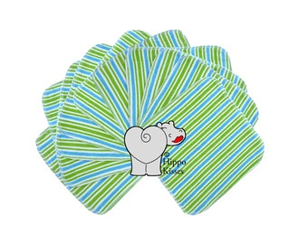 Baby Washcloths Blue/Green stripes 10 Pack