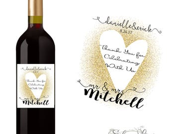 Personalized Thank You Wedding Wine Label Custom Wedding Wine Label - Choose Quantity