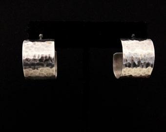 Hammered Sterling Silver Wide Hoops Pierced Post Earrings
