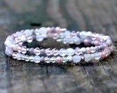 Pastel Pink, White & Grey Sparkle Wrap Bracelet