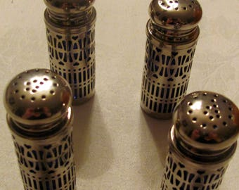 4 Cobalt Blue Glass/ Silver Plated , Salt and Pepper Shakers