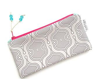 Grey and White Moroccan Recycled Zipper Pouch, Monochromatic Designer Cosmetics Bag + Glass Bead Tassel, Handmade Gift, Geometric Clutch