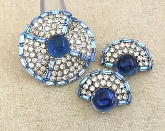 Statement Rhinestone Brooch Earrings Set - Vintage Blue Rhinestone Statement Brooch Gift for Wife - Women Brooch Set - Clip On Earrings Set