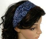 HEADBAND SALE Denim Blue Bandana Headband Country Western Rodeo Hair Accessory Blue and White Paisley Bandana Print Headband Handmade  by Th