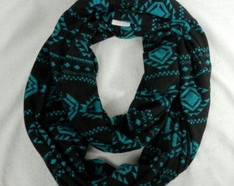 Sweater Knit Infinity Scarf Black and Turquoise Blue Tribal Print Infinity Scarf Soft Hatchi Sweater Knit Scarf - Standing Rock Donation