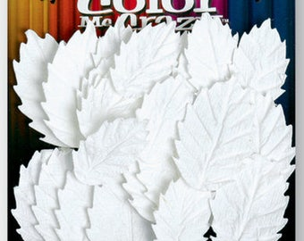 "24 assorted white leaves 0.75""-  1"" - assorted Leaves 1536-000 Petaloo Mixed Fabrics - Fall Foliage fabric color me crazy"