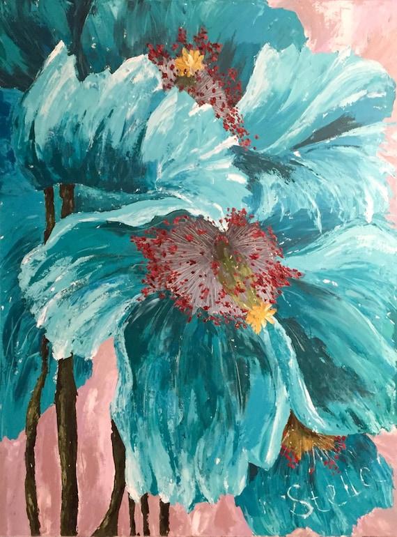 "TRANSPARENT GEM - Original palette knife acrylic painting 36""x48"" turquoise poppy flowers"