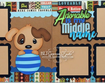 Pet Dog Premade Scrapbook Pages 12x12 Layout Paper Piecing Die Cuts Handmade 36