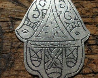 Moroccan medium tarnished hand engraved hand pendant