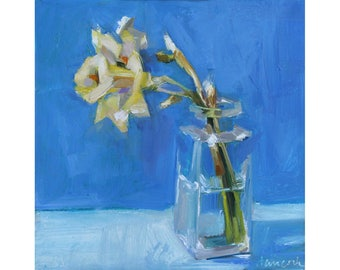 Yellow Daffodil, Square Glass Jar on Blue