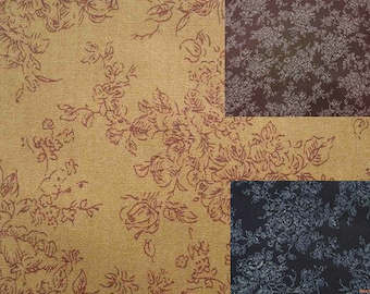 Fine-line flower, 1/2 yard, pure cotton fabric