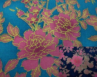 Bright pink peony, gold metallic, fat quarter, pure cotton fabric