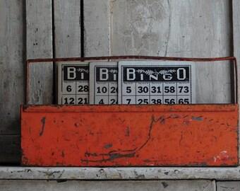 Vintage Industrial Metal Tote, Orange Box, Tool Carrier