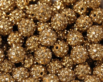 8mm Gold Crystal Rhinestone Clay Round Pave Beads -25