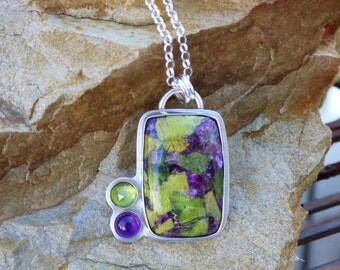 Atlantasite Stitchtite, Amethyst, Multi Stone Sterling Silver Necklace