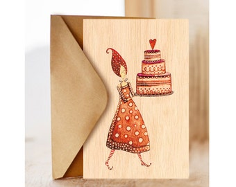 """Wood card  """"B-day cake"""", Greeting Card, Happy Birthday Card, Card for Her"""