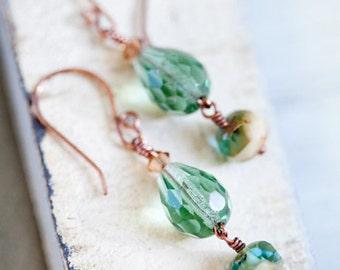 Sage Green Earrings, Green, Green Earrings, Green Jewelry, Green Copper Earrings, Teardrop Earrings, Swarovski, Mint Green earrings, SALE