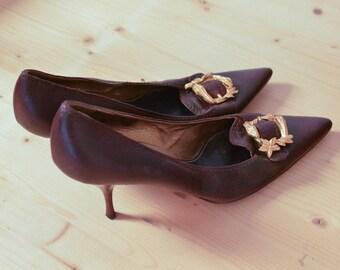 PRADA brown leather Heels Shoes Vintage 80's 39.5  US9