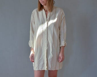 SALE Beige Cotton Shirt with mandarin collar oversized nude shirt Vintage 90's button front shirt