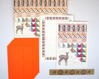 Geometric Fawn Letter Writing Set