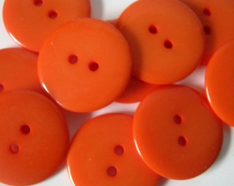 20 Resin Red Orange 23mm Buttons, Sewing, Crafts