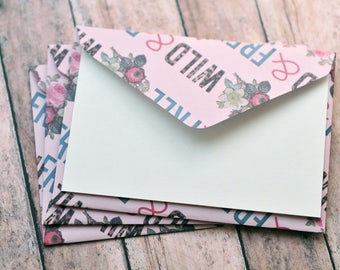 SALE-Wild and Free Mini Cards // Set of 4 // Blank Cards // Enclosure Cards // Gift Card Envelope // Advice Cards // Birthday Card
