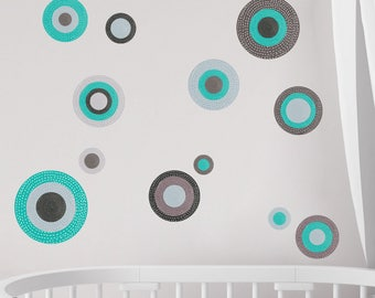 Polka Dot Wall Decals – Set of 12 Circle Peel and Stick Stickers – Serenity Collection