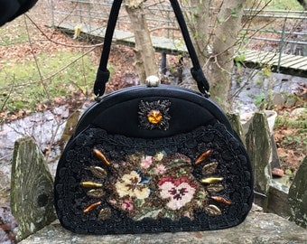 Vintage 50s 60s Mid Century Emroidered Beaded and Bedazzaled Hand Bag by Caron