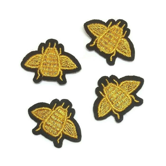 Pcs gold queen bee embroidered applique patches iron on or