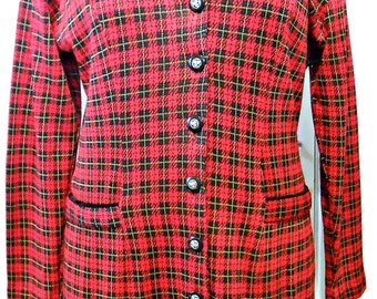 Black Friday DBY/80s/Jacket Dress/Red Plaid/Tartan/Size 11/Retro/Velvet
