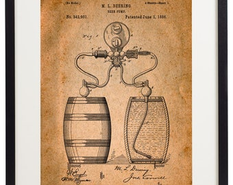 Set of 6 Prints Beer Patent Vintage Home Decor Wall Art Print