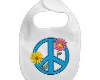 Peace Sign embroidered feeding bib.