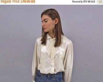 On Sale - Vintage 80s Ascot Blouse, Satin Pleated Blouse, Secretary Top, Crochet Ascot Blouse Δ size: sm / md