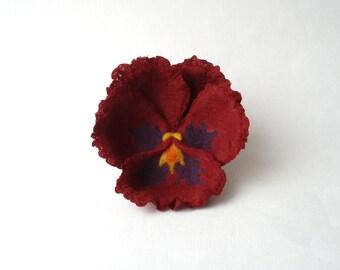 Felted pansy flower brooch, marsala pansy, maroon nuno felt flower, burgundy nunofelt broach