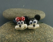 Mickey mouse buttons Minnie mouse buttons Mickey mouse bead  glass lampwork figurine miniature sculpture Mickey Jewelry Mickey mouse gift