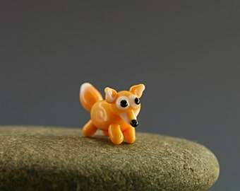 Fox figurine miniature fairy garden  dollhouse sculpture tiny lampwork bead supply kit terrarium decoration accessory minigarden glass totem