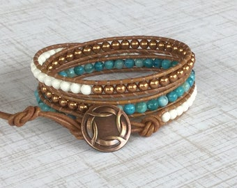 Beaded Wrap Bracelet Tan Leather Ivory Swarovski Pearls Turquoise Southwestern Free Shipping Copper