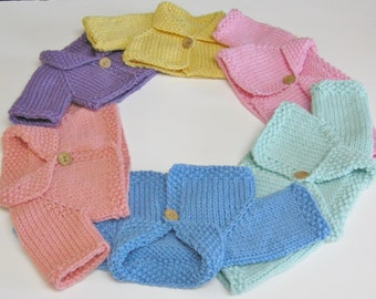 Made To Order Hand Knit Wool Cardigan for Waldorf and Other15-16 Inch Dolls
