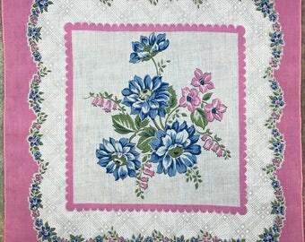 Vintage Floral Hanky 1523