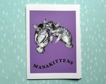 "Manakittens Greeting Card, Manatee + Kitten Hybrid Animal, 5x7"" Blank Card, Portland OR, Cute Cat Gift"