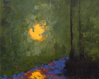 Original Oil Painting Landscape Painting on Canvas - 16 x 20 - Damage Creek, Dusk