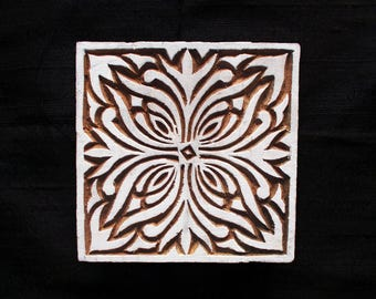 Square Indian block printing stamp/ wooden block for printing/tjap/ textile pottery stamp/hand carved Indian paper and fabric printing stamp