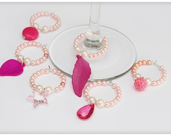 Wine glass charms, PINK set , 6 charms. Wine glass rings for party