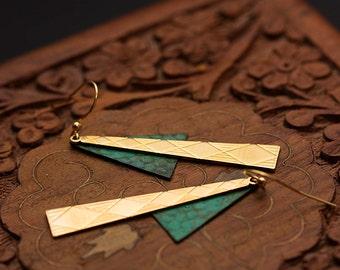 Triangle Dangle Earrings Geometric Patina Earrings Boho Hippie Modern Long Dangles Geometric Jewelry - E336