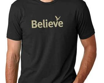 Men's t shirt / tshirts with sayings / yoga t shirts / Believe / Gifts for him / Inspirational shirts / Spiritual T Shirt /Life is Balance