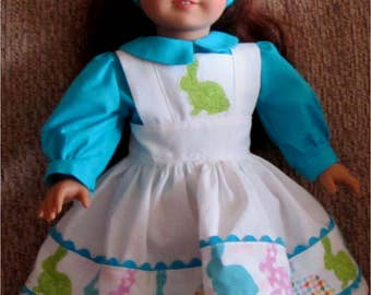 "Blue White Bunny Trim Pinafore, Headband and Blouse Fits American Girl Dolls or Similar 18"" Dolls"
