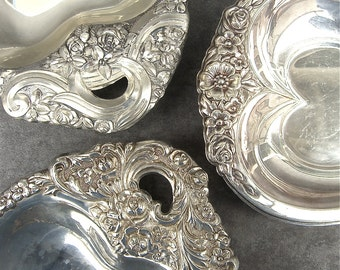 3 Vintage Silver Plate Heart Bon Bon Candy Dish, Tray, Ornate Floral Silverplate, Repousse Flowers, Leonard