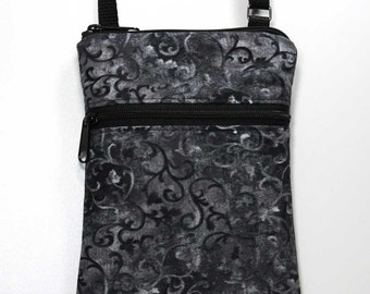 Black and Gray Scroll Mini Crossbody Bag Zipper Crossbody Bag Small Cell Phone Shoulder Purse Smart Phone Bag Travel Bag - Ready to Ship